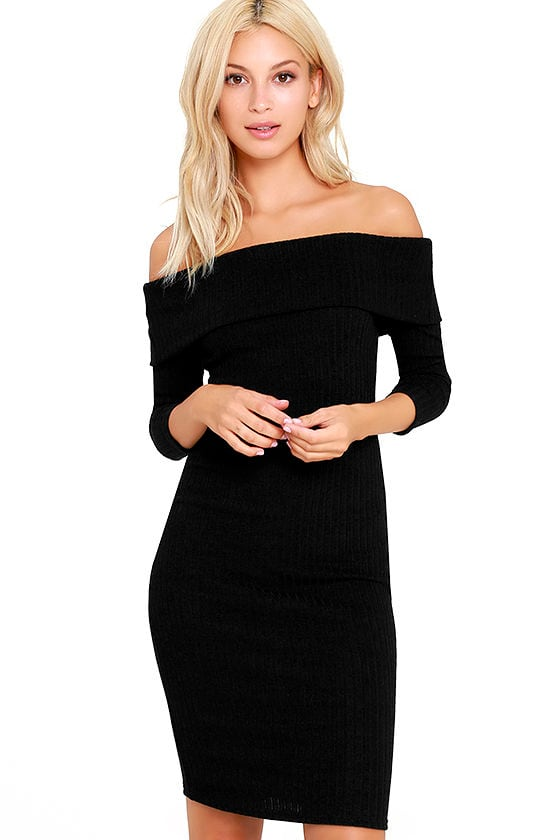 Chic Black Dress - Midi Dress - Bodycon Dress - Sweater Dress - $47.00