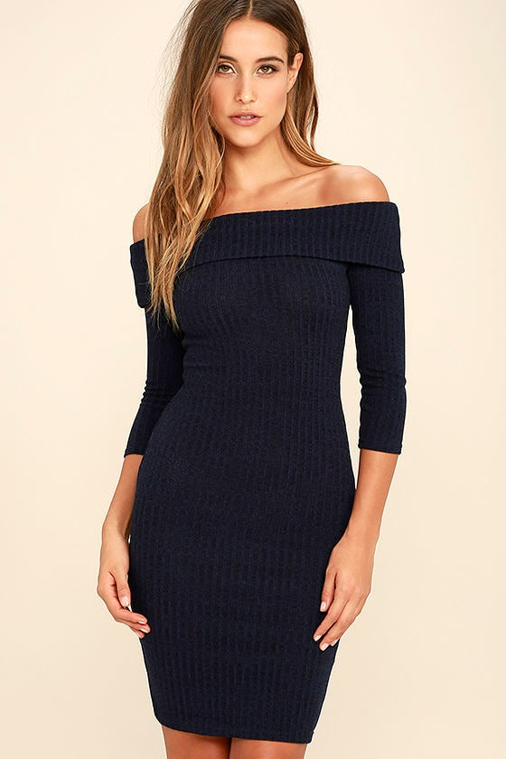 6bf600f392be Chic Navy Blue Dress - Midi Dress - Bodycon Dress - Sweater Dress - $47.00