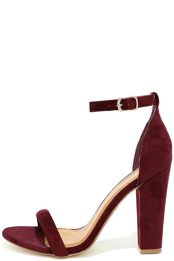Cute Burgundy Heels Suede Ankle Strap Heels Burgundy