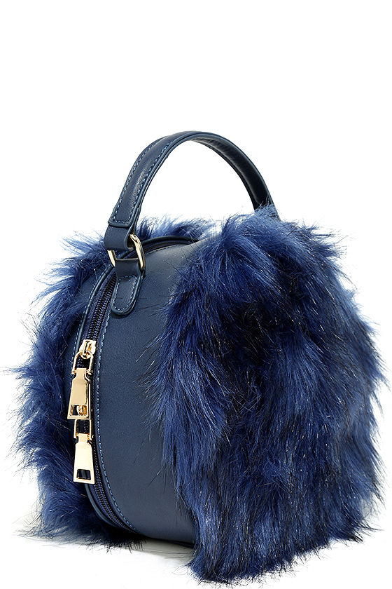 Cute Navy Blue Purse Faux Fur Purse Faux Fur Bag 31 00