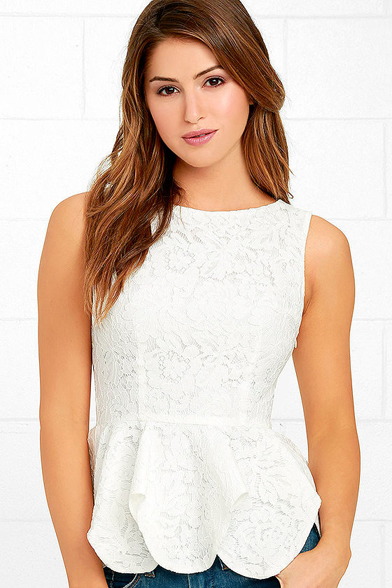 f34bb642bc8 Pretty White Top - Lace Top - Peplum Top - Sleeveless Top - $37.00