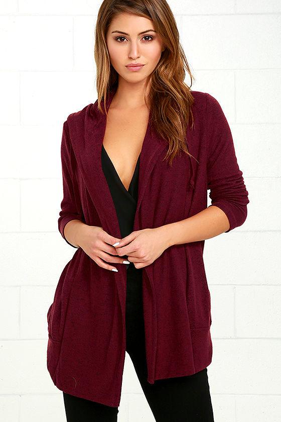 bfc0e2357c Cute Burgundy Sweater - Cardigan Sweater - Knit Sweater -  58.00