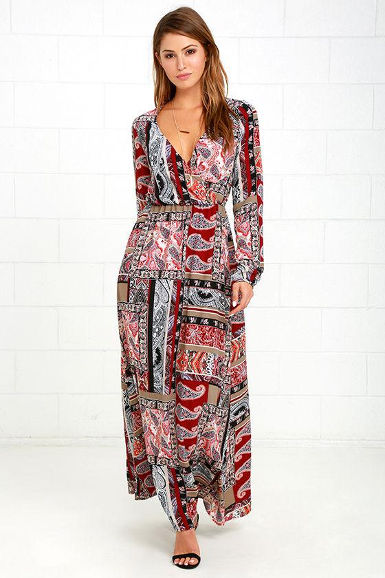 6db08707c2c69 Boho Maxi Dress - Burgundy Print Dress - Long Sleeve Dress - $89.00
