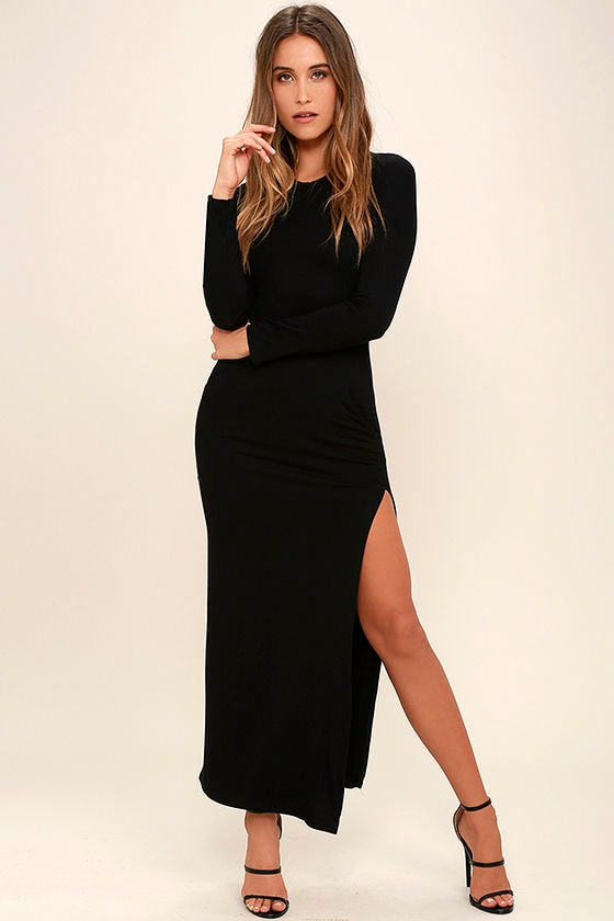 chic black long sleeve dress - jersey knit maxi dress - bodycon