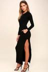 Chic Black Long Sleeve Dress Jersey Knit Maxi Dress Bodycon Maxi