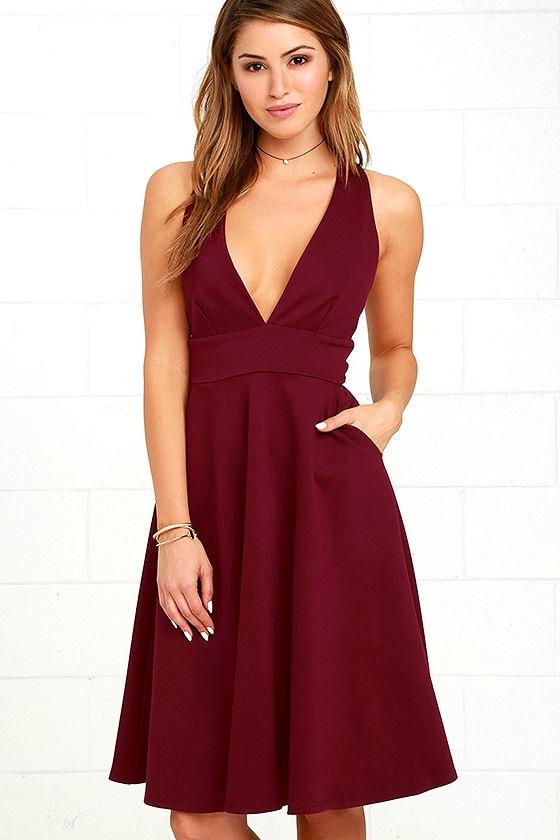 d15f3f555c7b Lovely Burgundy Dress - Skater Dress - Midi Dress -  59.00