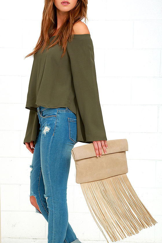 Palomino Beige Suede Leather Fringe Clutch 3