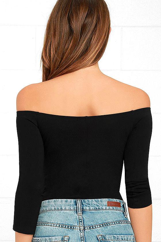 Like a Bird Black Off-the-Shoulder Bodysuit 3