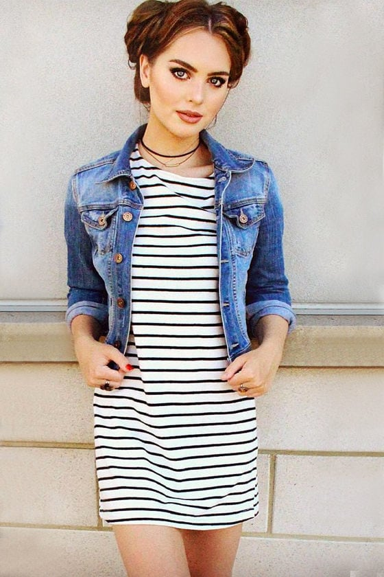 Law Bender Black and Ivory Striped Dress 7