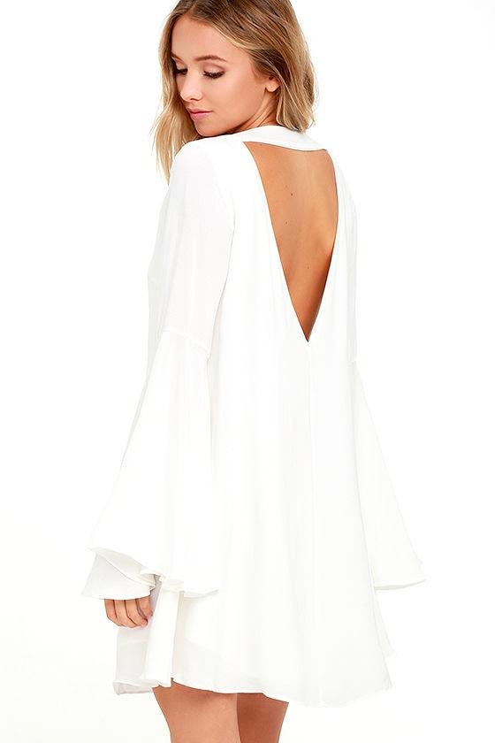 Lovely White Dress - Long Sleeve Dress - Shift Dress - $54.00