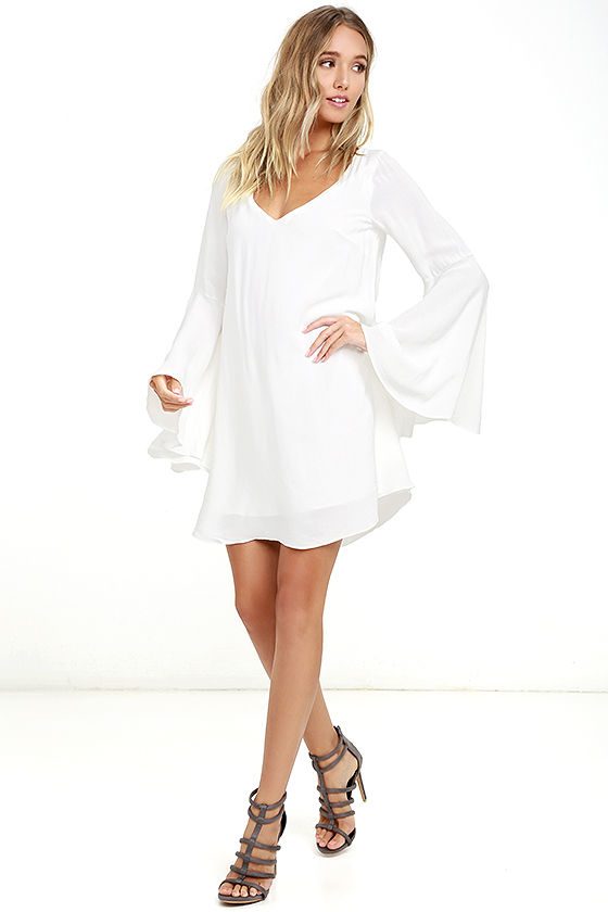 Something Magical White Long Sleeve Shift Dress 3