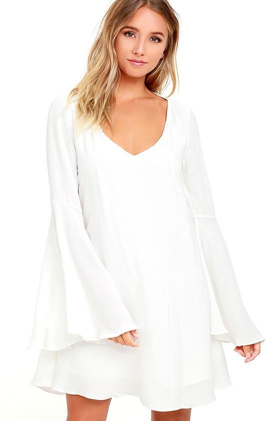 Something Magical White Long Sleeve Shift Dress 4