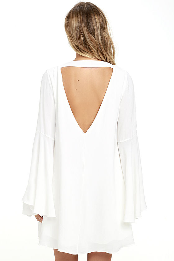 Something Magical White Long Sleeve Shift Dress 5