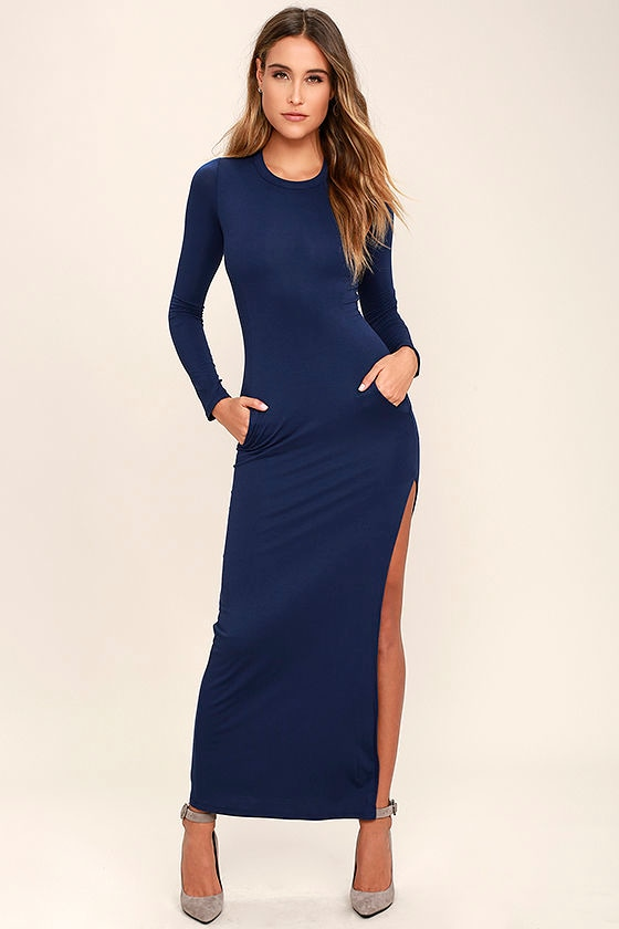 c7c96f10ed Chic Navy Blue Long Sleeve Dress - Jersey Knit Maxi Dress - Bodycon Maxi  Dress -  52.00