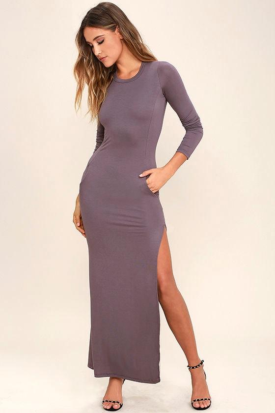 Chic Dusty Purple Long Sleeve Dress - Jersey Knit Maxi Dress ...