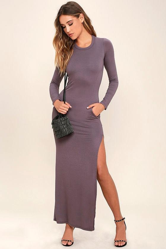 d02b7386a0 Chic Dusty Purple Long Sleeve Dress - Jersey Knit Maxi Dress ...