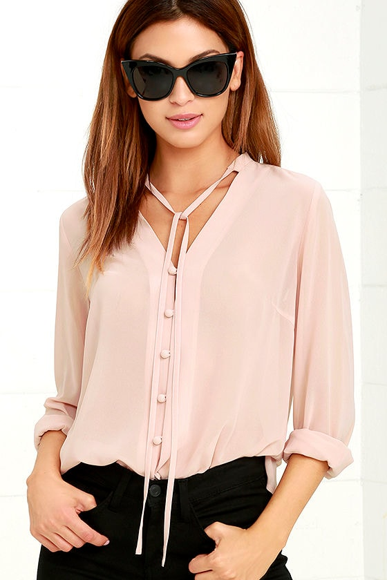 Pretty Blush Pink Blouse - Button-Up Blouse - Long Sleeve Blouse ...