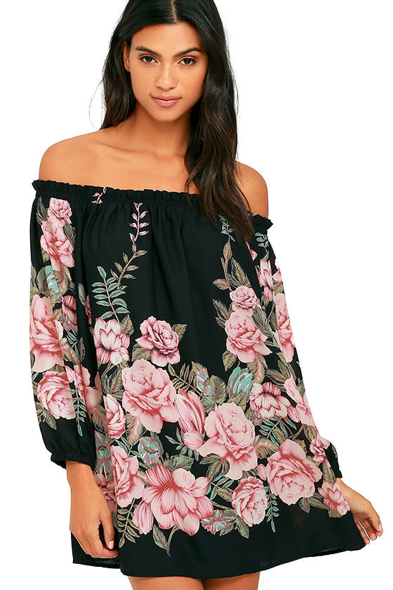 lovely floral print dress ots dress shift dress