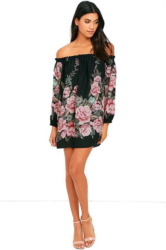 Blooming Bouquet Black Floral Print Off-the-Shoulder Dress 2