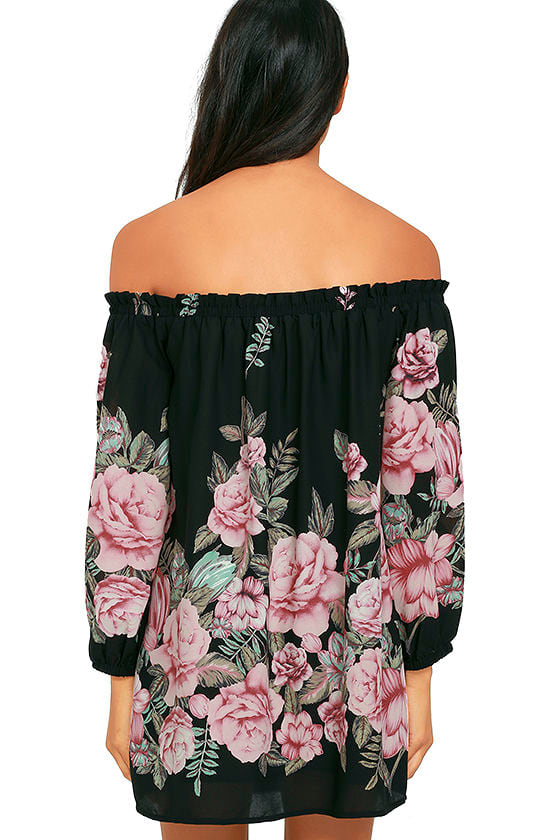 Blooming Bouquet Black Floral Print Off-the-Shoulder Dress 4