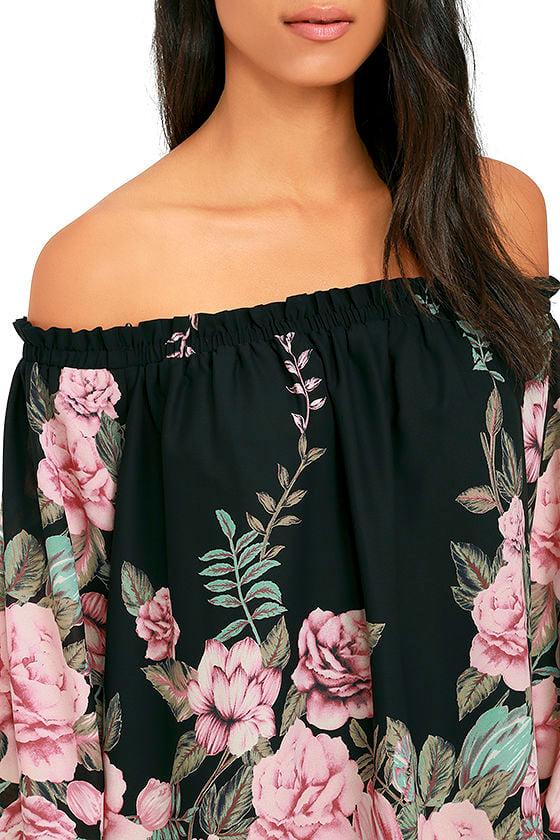 Blooming Bouquet Black Floral Print Off-the-Shoulder Dress 5