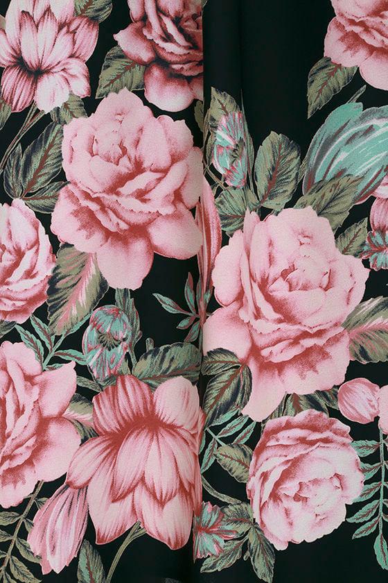 Blooming Bouquet Black Floral Print Off-the-Shoulder Dress 6