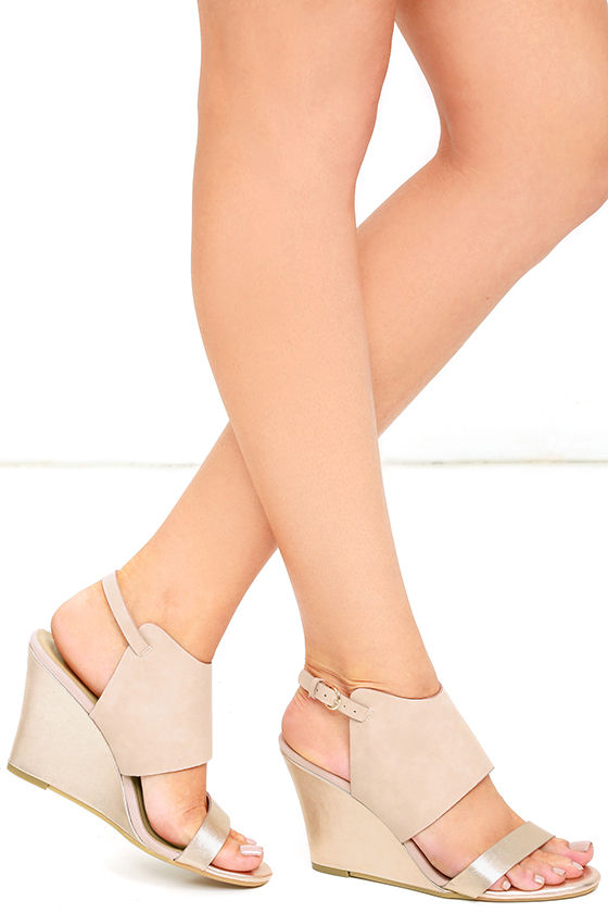 487a9aa568ee Chic Metallic Silver Sandals - Wedge Sandals - Pink Wedges -  49.00