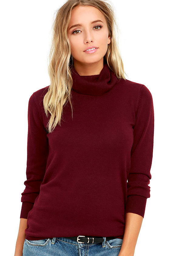 Chic Burgundy Sweater - Turtleneck Sweater - Long Sleeve Sweater ...