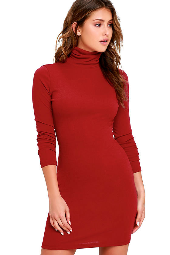 9ab41ef216d9 Wine Red Dress - Turtleneck Dress - Long Sleeve Dress - Bodycon Dress -   38.00