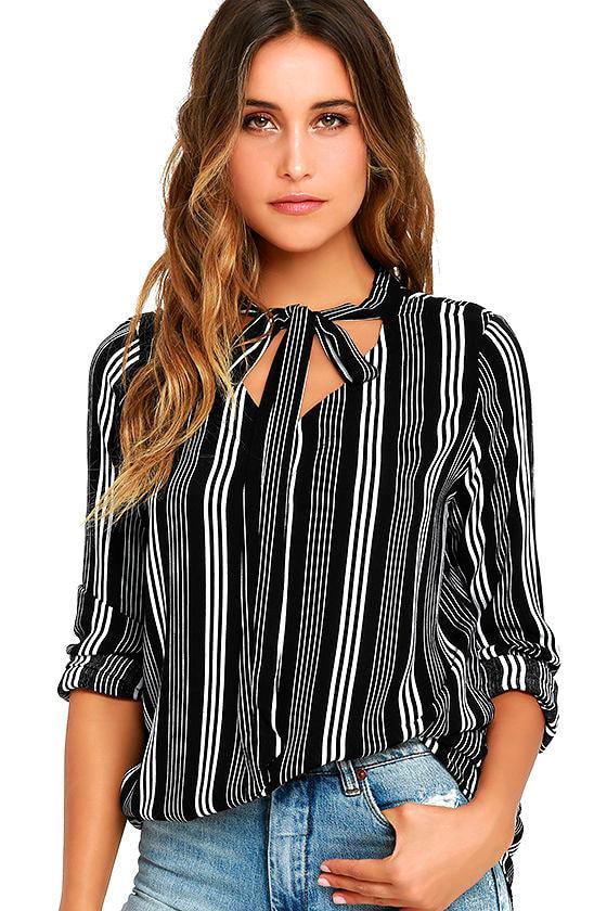 4511df7dc65 Chic Black Striped Top - Tie Neck Blouse - Striped Tie Neck Top - $44.00