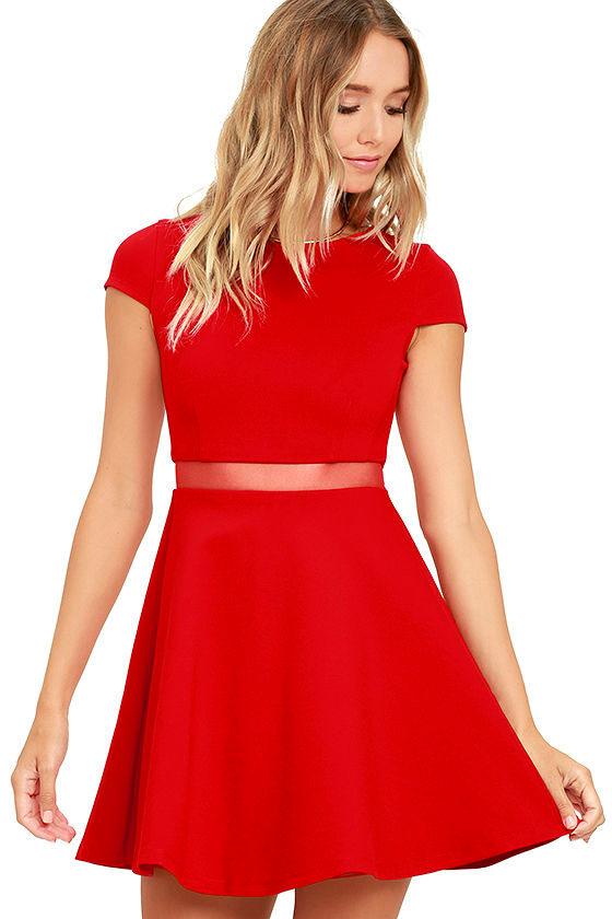 Sexy Red Dress - Skater Dress - Mesh Dress - $54.00