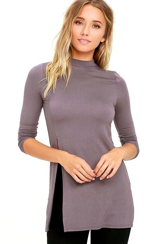 4a7fcc41976 Lovely Dusty Purple Top - Long Sleeve Top - Mock Neck Top - $32.00