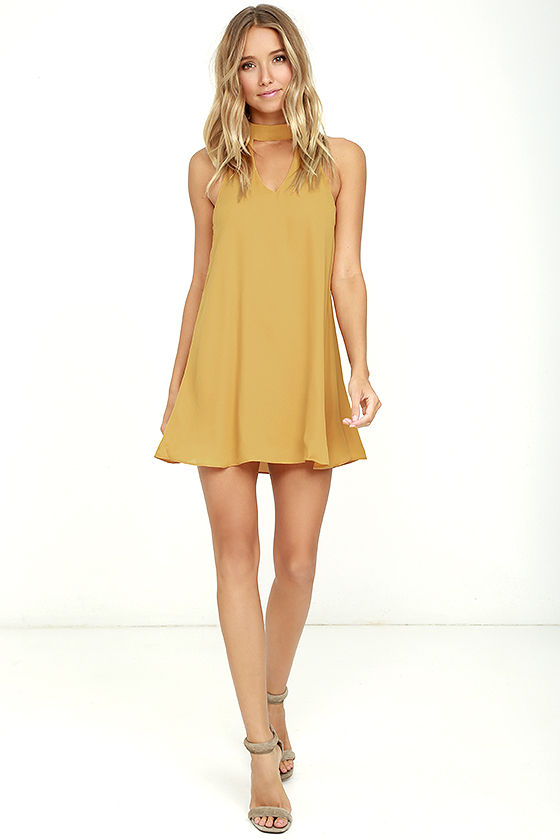 Cute Golden Yellow Dress - Swing Dress - Cutout Dress - $49.00
