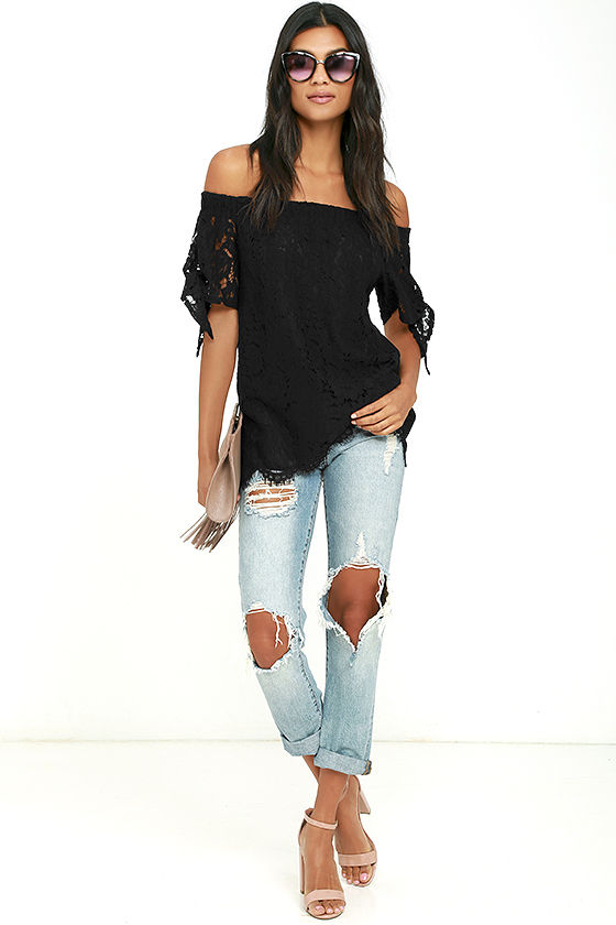 Ethereal View Black Lace Off-the-Shoulder Top 2
