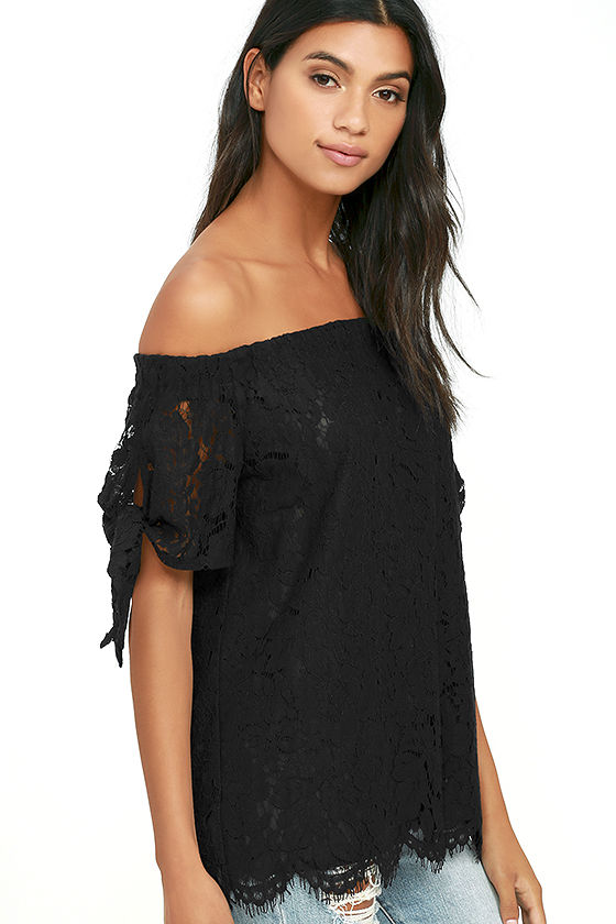 Ethereal View Black Lace Off-the-Shoulder Top 3