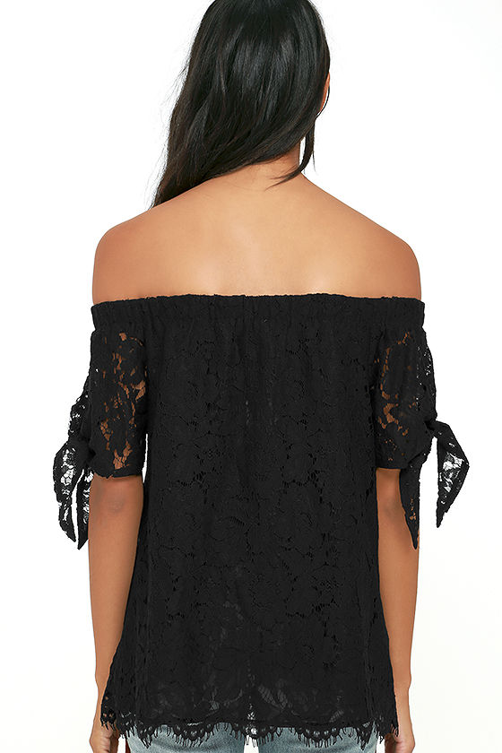 Ethereal View Black Lace Off-the-Shoulder Top 4