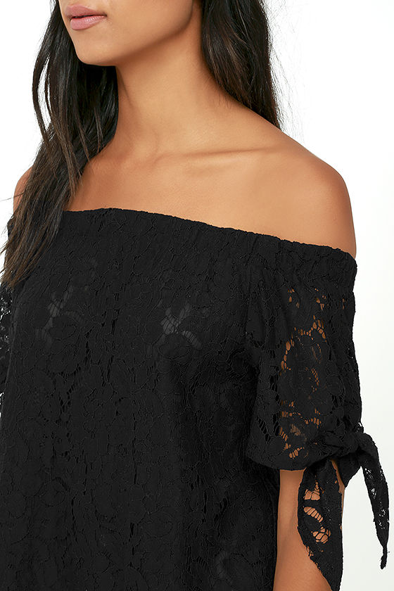 Ethereal View Black Lace Off-the-Shoulder Top 5