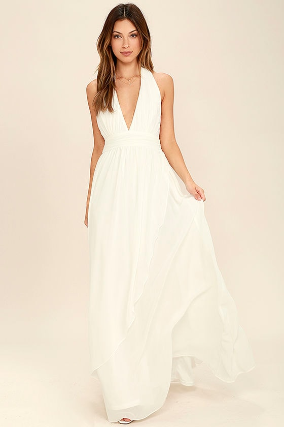 Lovely Ivory Dress - Maxi Dress - Halter Dress - White Maxi Dress ...