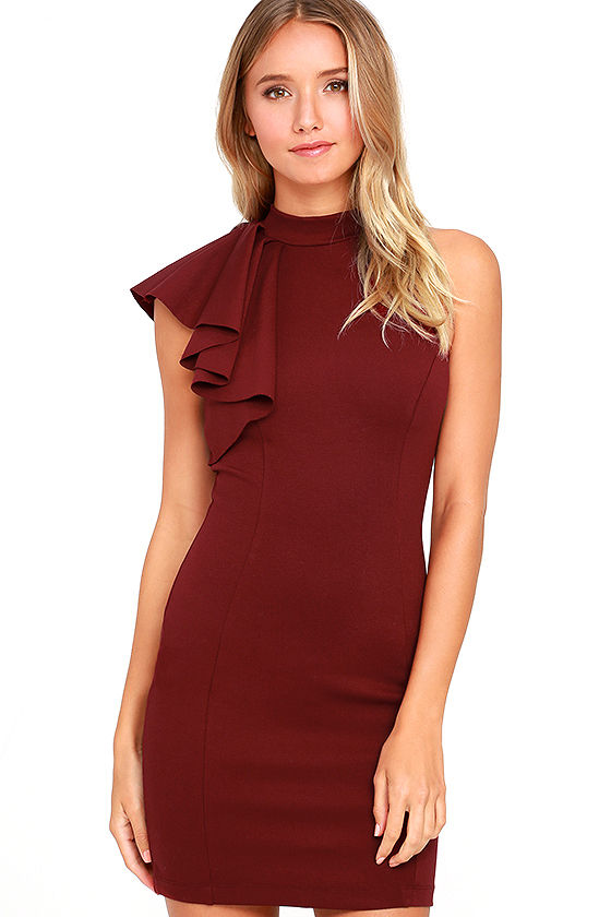 Red dress bodycon ivory