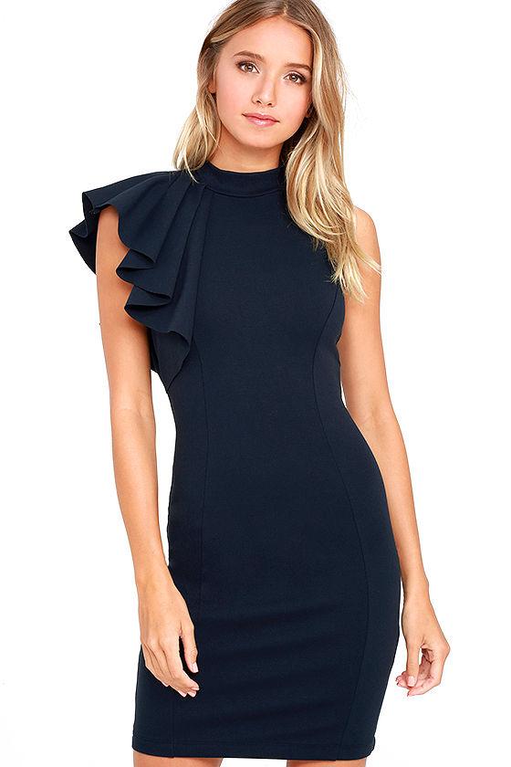 e339822b199d Chic Navy Blue Dress - Ruffle Dress - Bodycon Dress - $56.00