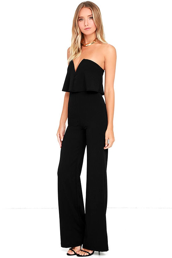 Sexy Black Jumpsuit - Strapless Jumpsuit - Wide Leg Jumpsuit - $59.00