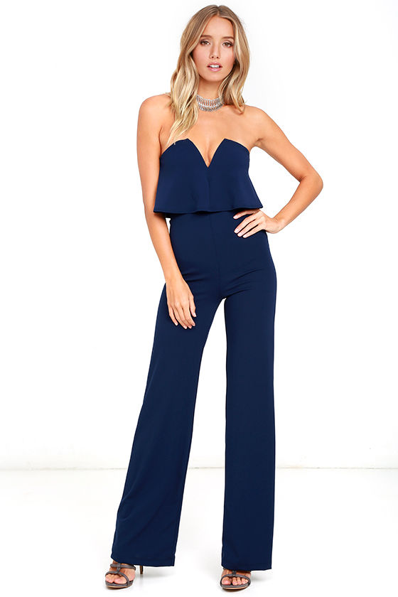 Sexy Navy Blue Jumpsuit - Strapless Jumpsuit - Wide Leg Jumpsuit ...
