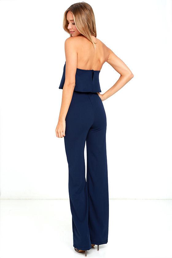 Sexy Navy Blue Jumpsuit - Strapless Jumpsuit - Wide Leg Jumpsuit ...