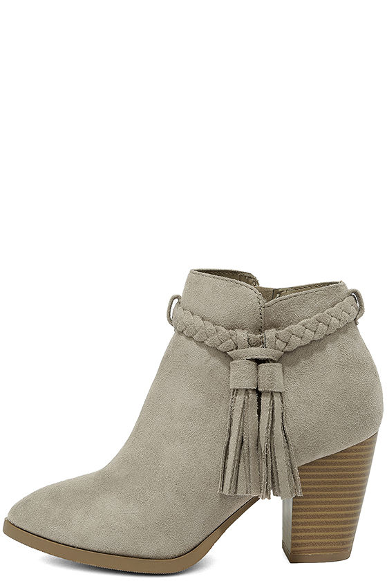 6a783abc4d95 Gone Western Clay Grey Suede Booties  34
