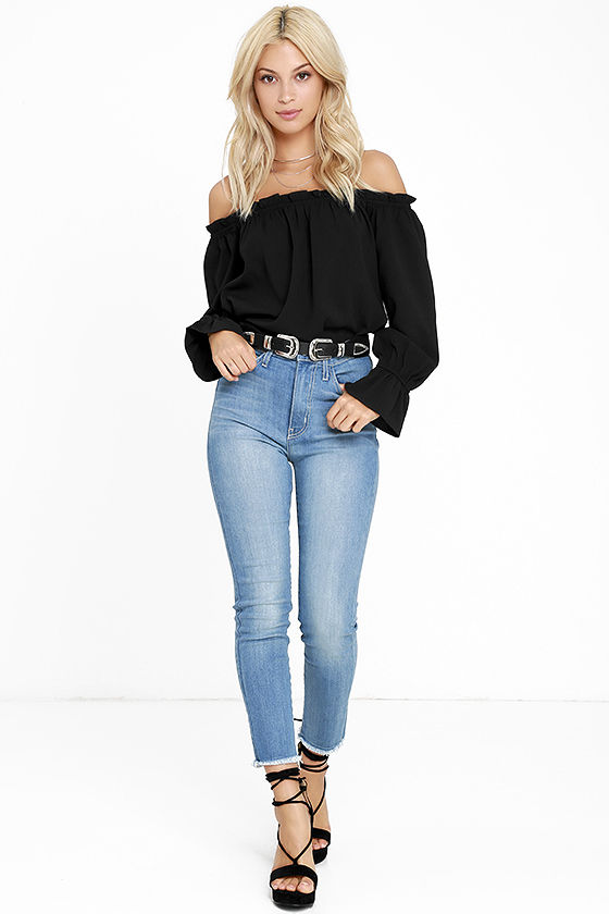 All in Good Fun Black Off-the-Shoulder Top 2