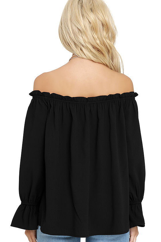 All in Good Fun Black Off-the-Shoulder Top 4