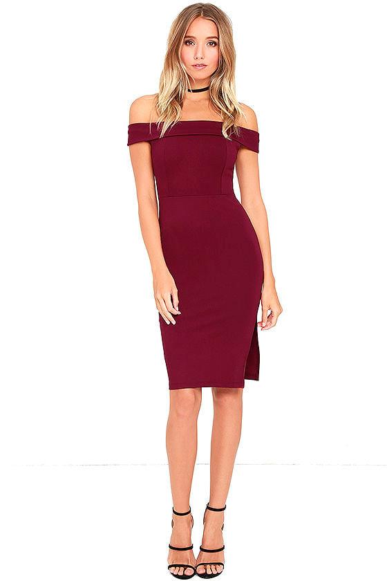 Foxy Lady Burgundy Off-the-Shoulder Bodycon Dress 2