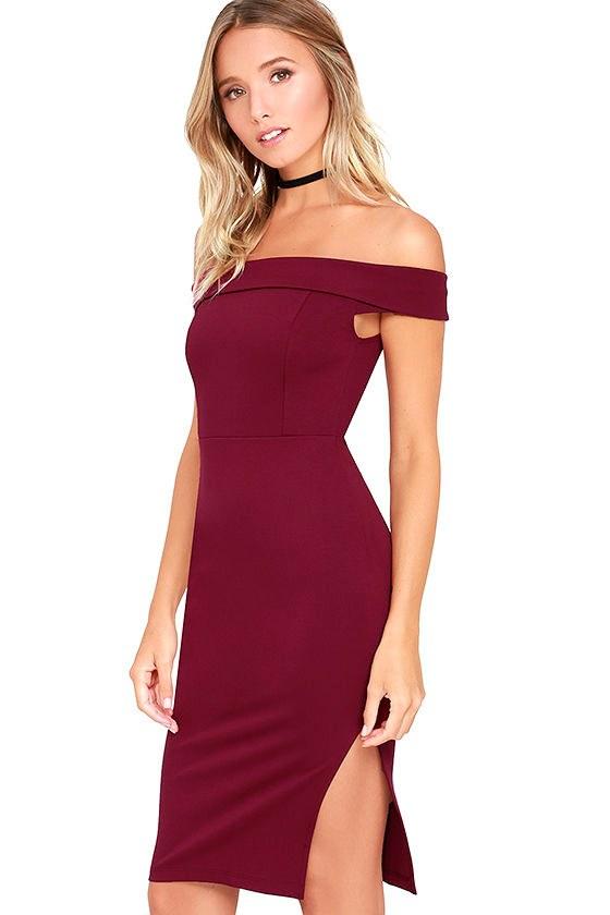Foxy Lady Burgundy Off-the-Shoulder Bodycon Dress 3