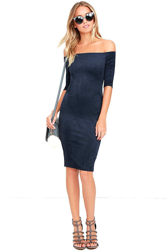 dd283ebfd56e Navy Blue Dress - Suede Dress - Off-the-Shoulder Dress - Bodycon ...