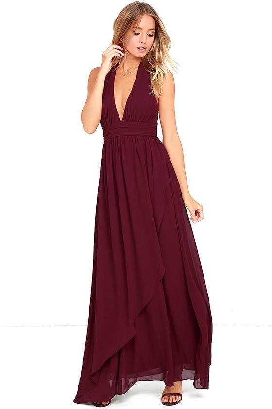 Lovely Burgundy Dress - Maxi Dress - Halter Dress - $84.00